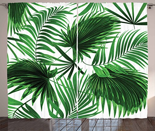 Ambesonne Palm Leaf Curtains, Realistic Vivid Leaves of Palm Tree Growth Ecology Lush Botany Themed Print, Living Room Bedroom Window Drapes 2 Panel Set, 108 W X 90 L Inches, Fern Green White - Palm Leaf Shade