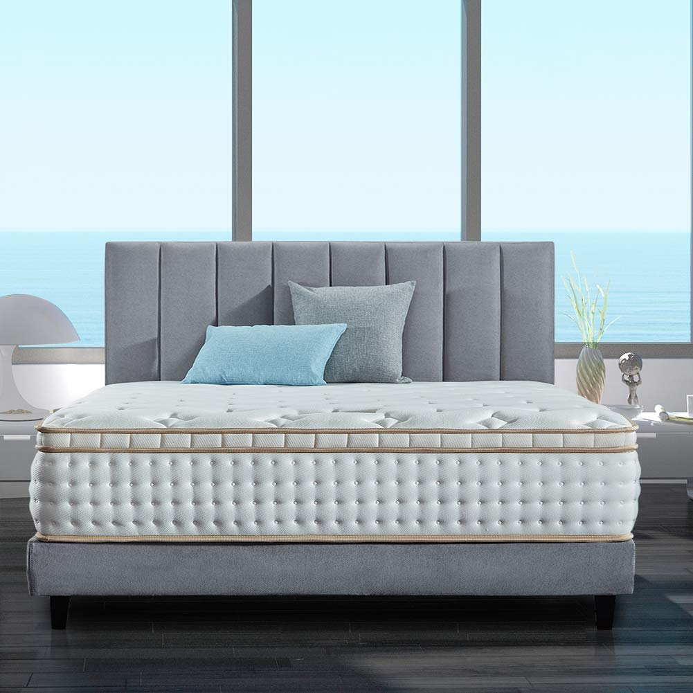 BedStory 12 inch Queen Mattress, Gel Infused Memory Foam Mattress with Pocket Coil and Euro Top Design, Firm Bed Mattress with CertiPUR-US Certified Foam