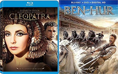 Ben-Hur 2016 Blu Ray DVD + Cleopatra 50th Anniversary Edition Double Epic Movie Set