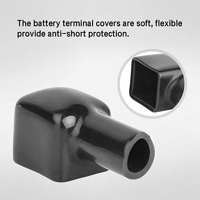 2Pcs Motorcycle Terminal Rubber Covers Battery Sleeve Insulation Cap-CNMAZD