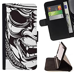 Mask Japanese Samurai Theatre Art - Painting Art Smile Face Style Design PU Leather Flip Stand Case Cover FOR Apple Iphone 4 / 4S @ The Smurfs