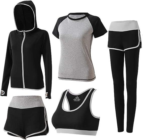 BOTRE 5 Piezas Conjuntos Deportivos para Mujer Chándales Ropa de Correr Yoga Fitness Tenis Suave Transpirable Cómodo: Amazon.es: Ropa y accesorios