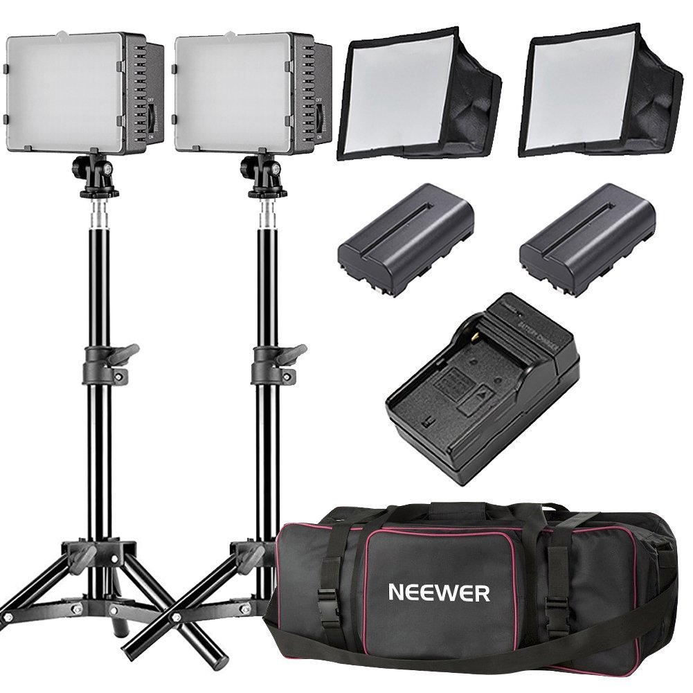 Neewer CN-160 LED Dimmable Ultra High Power Panel Video Light Kit: CN-160 LED Light,(2)2600 mAh Battery, USB Battery Charger and Carrying Case for Canon, Nikon, Pentax, Sony DSLR Cameras,DV Camcorders 90089366