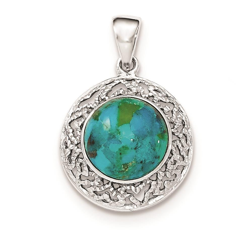925 Sterling Silver Polished Reconstituted Turquoise Round Charm Pendant