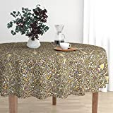 Roostery Round Tablecloth - Persian Islamic Turkish Tree Of Life Indian Moroccan Renaissance by Muhlenkott - Cotton Sateen Tablecloth 70in