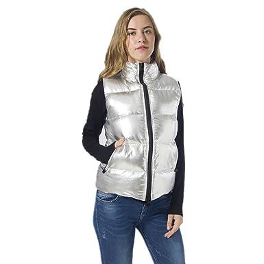 07ebeb7ee54 VANGULL Women Silver Zipper Short Warm Snow Sleeveless Down Vest Coat  Overcoat Winter (S)