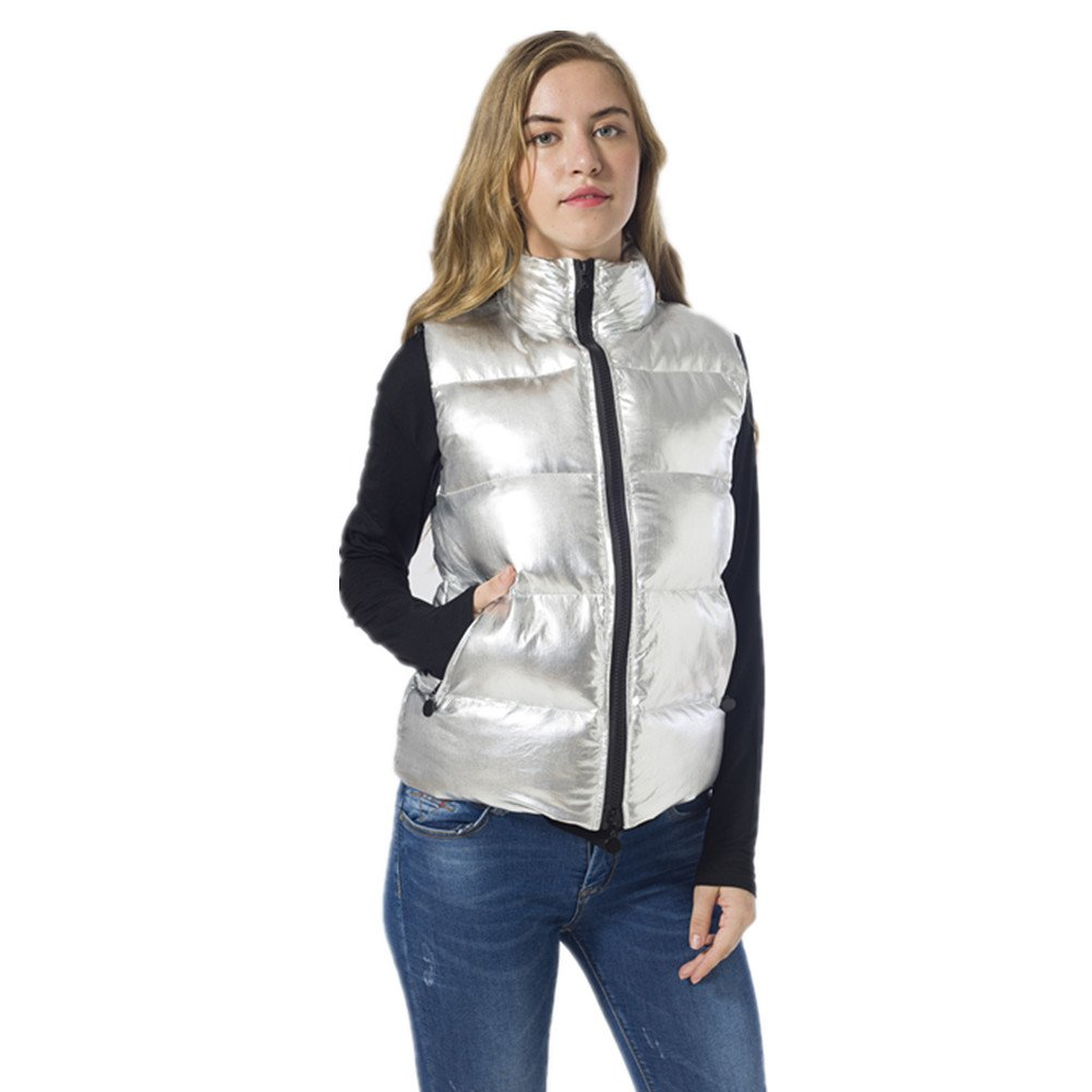 VANGULL Women Silver Zipper Short Warm Snow Sleeveless Down Vest Coat Overcoat Winter (XXL)
