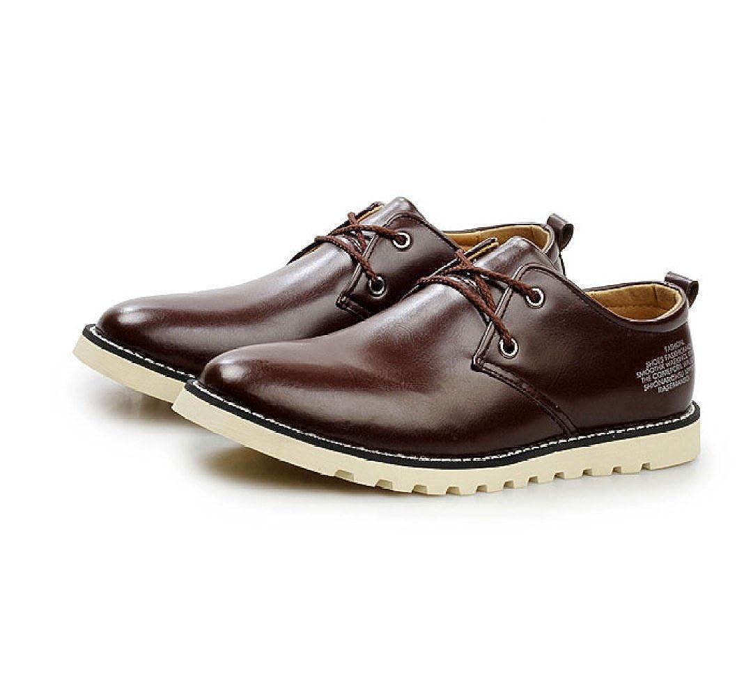 LEDLFIE Herrenschuhe Fashion Casual Kleid Schnürschuhe Einzel Schuhe Business Kleid Casual Schuhe DarkBraun 0811a6
