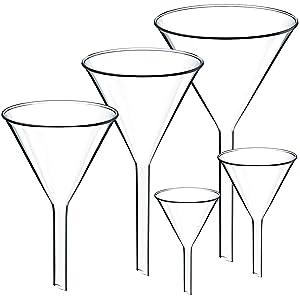 Teenitor Set of 5 Glass Funnels Diameter 30mm 40mm 50mm 65mm 75mm