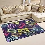 WellLee Music Area Rug,Hipster Cartoon Retro Floor Rug Non-Slip Doormat for Living Dining Dorm Room Bedroom Decor 31x20 inch