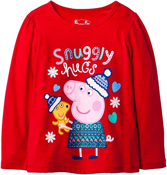 Peppa Pig Toddler Girls Red Snuggly Hugs Holiday T-Shirt Snowflake Tee Shirt