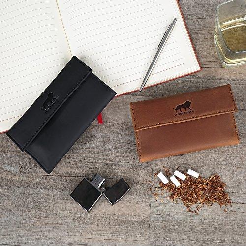 Lions Design Leder-Tabakbeutel mit Filterfach Blättchenhalter Magnetverschluss und Gizeh Papers - Premium Tabaktasche - 100% Handmade Drehertasche Schwarz Dunkel Braun