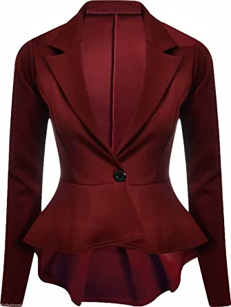 ed0691430a75e Womens New Long Sleeve Fitted Peplum Jackets Ladies Slim Fit Button Flared  Frill Blazer Jacket Burgundy Maroon Size 14  Amazon.co.uk  Clothing