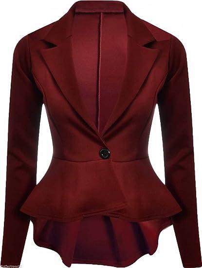 Chaqueta de manga larga para mujer, entallada, con botones y solapas rojo granate 36