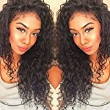 Curly Human Hair Lace Front Wigs 130% Density Brazilian Virgin Loose Deep Curly Wig with Baby Hair for Black Women 18Inch