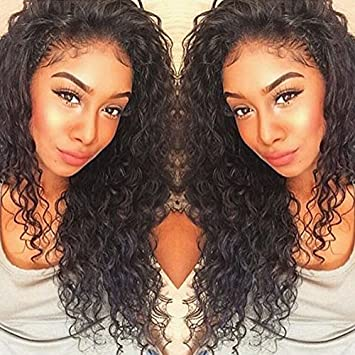 Amazon Com Curly Human Hair Lace Front Wigs 130 Density Brazilian