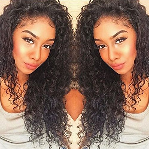 Curly Human Hair Lace Front Wigs 130% Density Brazilian Virgin Loose Deep Curly Wig with Baby Hair for Black Women 16Inch (Brazilian Hair Lace Wig)