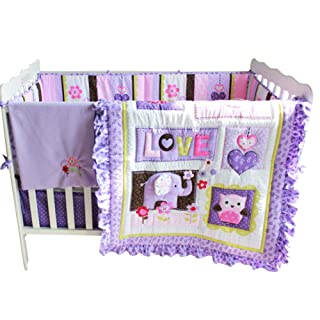 Brandream Baby Girls Crib Bedding Sets Pink Purple Nursery Bedding Set with Bumpers Elephant Owl Floral Patchwork, 8 Pieces