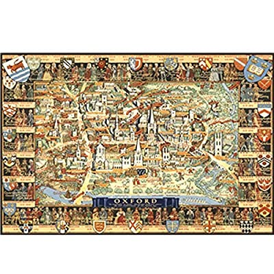 Wooden Puzzle of Map of Oxford University Collection HD Poster Puzzle 1000 Tablets Decompression Educational Toys For Boys, Girls Children Home Wall Decor Painting Exquisite Holiday Entertainment Gift: Home & Kitchen