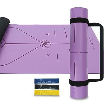 Limerence Premium Esterilla de Yoga en PU de Cuero y Caucho Natural con Sistema de Alineación, 185x68cm, 4mm, Antideslizante Estera Profesional ...