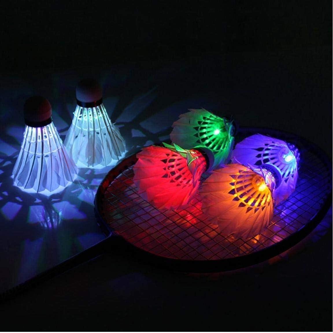 Led B/ádminton Ganso De Plumas De Colores Dark Night Glow Volante De Los Chirridos De Iluminaci/ón para Interior-Exterior Deportes Actividades 4pcs