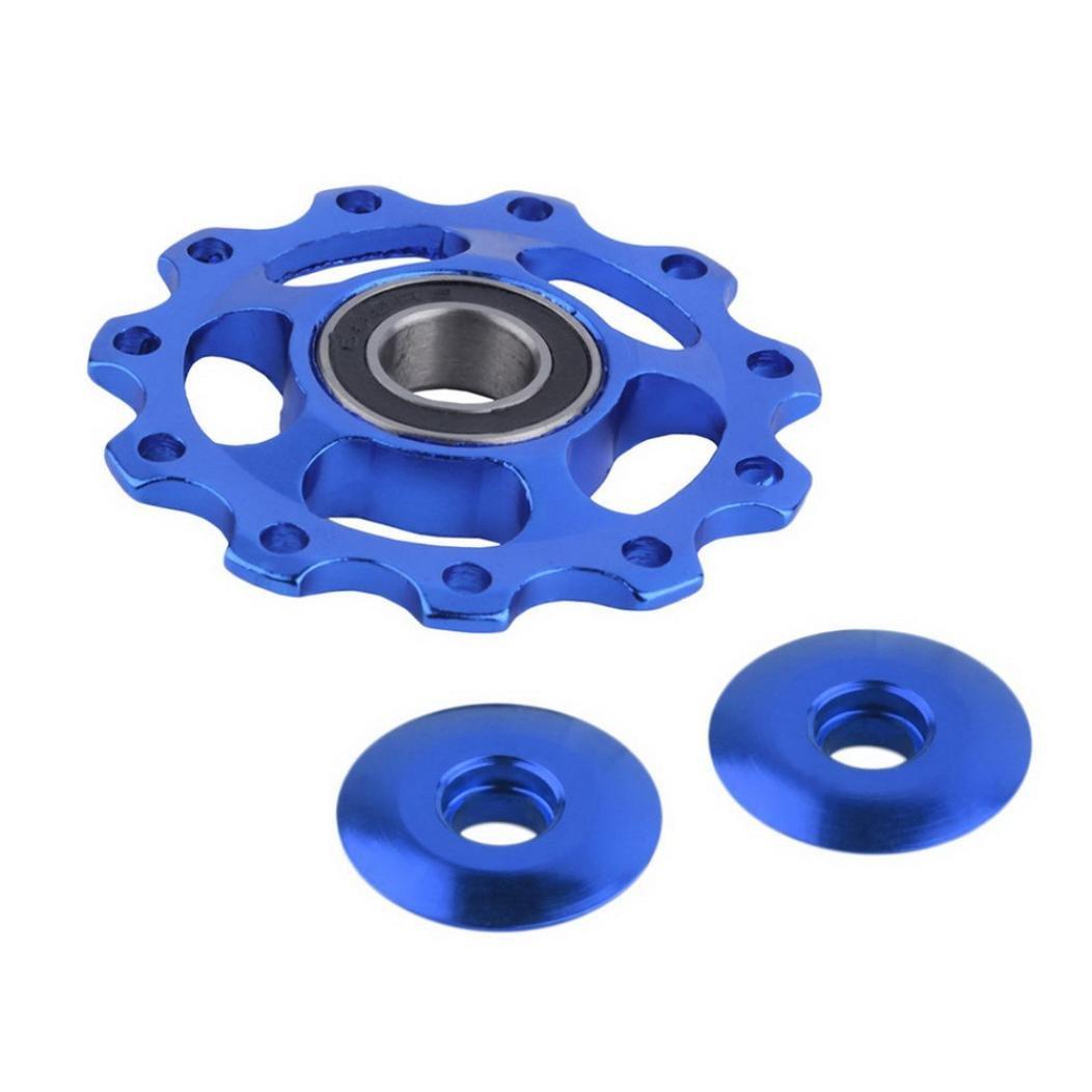 TONSEE 11Tooth MTB Ceramic Bearing Jockey Wheel Pulley Road Bicycle Bike Derailleur (Blue)
