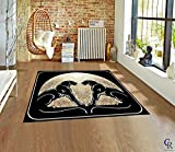 "Twin Black Panther Area Rug Bordered Jaguar Animal Carpet (5' 3"" X 7' 5"")"
