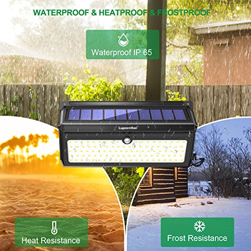 Solar Lights Outdoor 100 LEDs , Motion Sensor Wireless Waterproof Security Light, Solar Lights for Garden, Patio, Yard, Driveway, Garage, Porch , Pathway by Luposwiten [2PACK] by Luposwiten (Image #3)