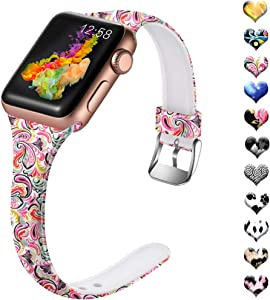 Henva Band Compatible with Apple Watch SE Band 40mm 38mm, Soft Silicone Thin Wristband with Print Pattern for iWatch Series 6/5, Series 4, Series 3, Series 2, Series 1, Colorful Cloud Pattern, S/M