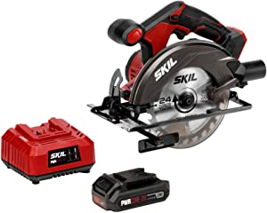 SKIL 20V 6-1/2 Inch Cordless Circular Saw, Includes 2.0Ah PWRCore 20 Lithium Battery and Charger - CR5406-10