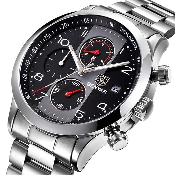 BENYAR Reloj de Pulsera de Acero Inoxidable con cronógrafo, Resistente al Agua, para Negocios, Casual, con Fecha para Hombres: Amazon.es: Relojes