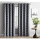 ME Lattice Print Thermal Insulated Blackout Window Curtain Panels, Pair,  Chrome Grommet Top, Grey