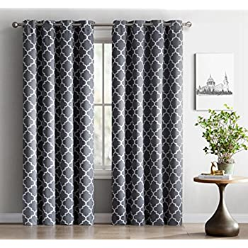 Etonnant ME Lattice Print Thermal Insulated Blackout Window Curtain Panels, Pair,  Chrome Grommet