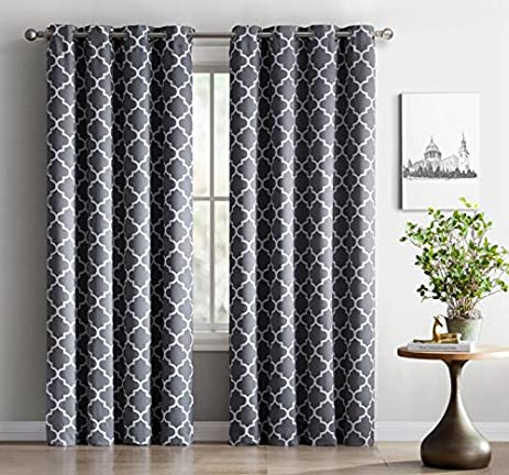 ME Lattice Print Thermal Insulated Blackout Window Curtain Panels, Pair,  Chrome Grommet