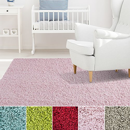 iCustomRug Affordable Shaggy Rug Dixie Cozy & Soft Kids Shag Area Rug Solid Color Pink, For Children's Play Area, Bedroom or Nursery Carpet 5 Feet x 7 Feet (5' x 7') (Pink Nursery Rugs)