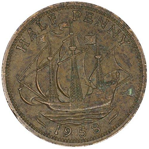 1958 UK Great Britain Elizabeth II Bronze Halfpenny Good