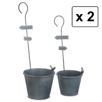 Lote de 2 tiestos para suelo o par colgar - Estilo Hierro forjado - Color GRIS