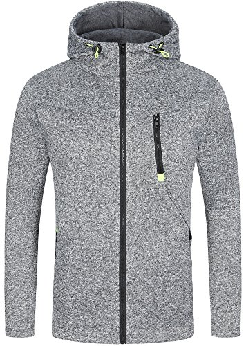 Mrignt Mens Full Zip Hooded Fleece Long Sleeve Two Front Pockets Sports Sweatshirt, Medium, Dark Gray (Pullovers Fleece Sport Hooded)