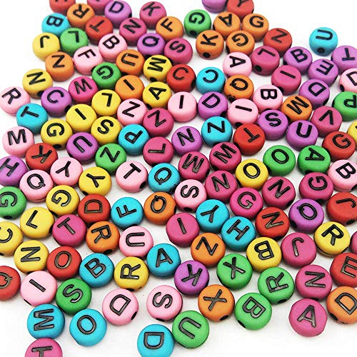Alphabet Charms Circle - 600 Pieces 6mm DIY Black Colorful Acrylic Alphabet Letter Cylinder Column Beads for Jewelry Making, Bracelets, Necklaces,Children's Educational Toys, Key Chains and Kids Jewelry