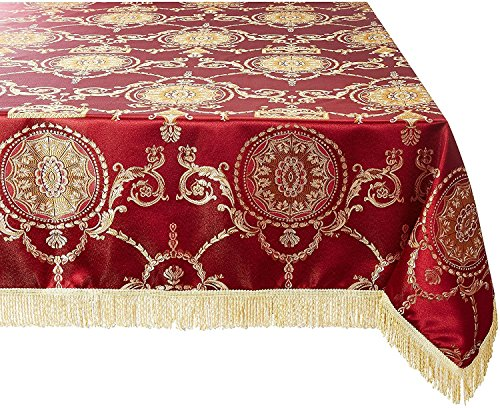 Violet Linen Prestige Damask Design Oblong/Rectangle Tablecloth, 60