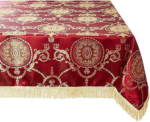 60 Inch X 102 Inch Tablecloth - Violet Linen Prestige Damask Design Oblong/Rectangle Tablecloth, 60