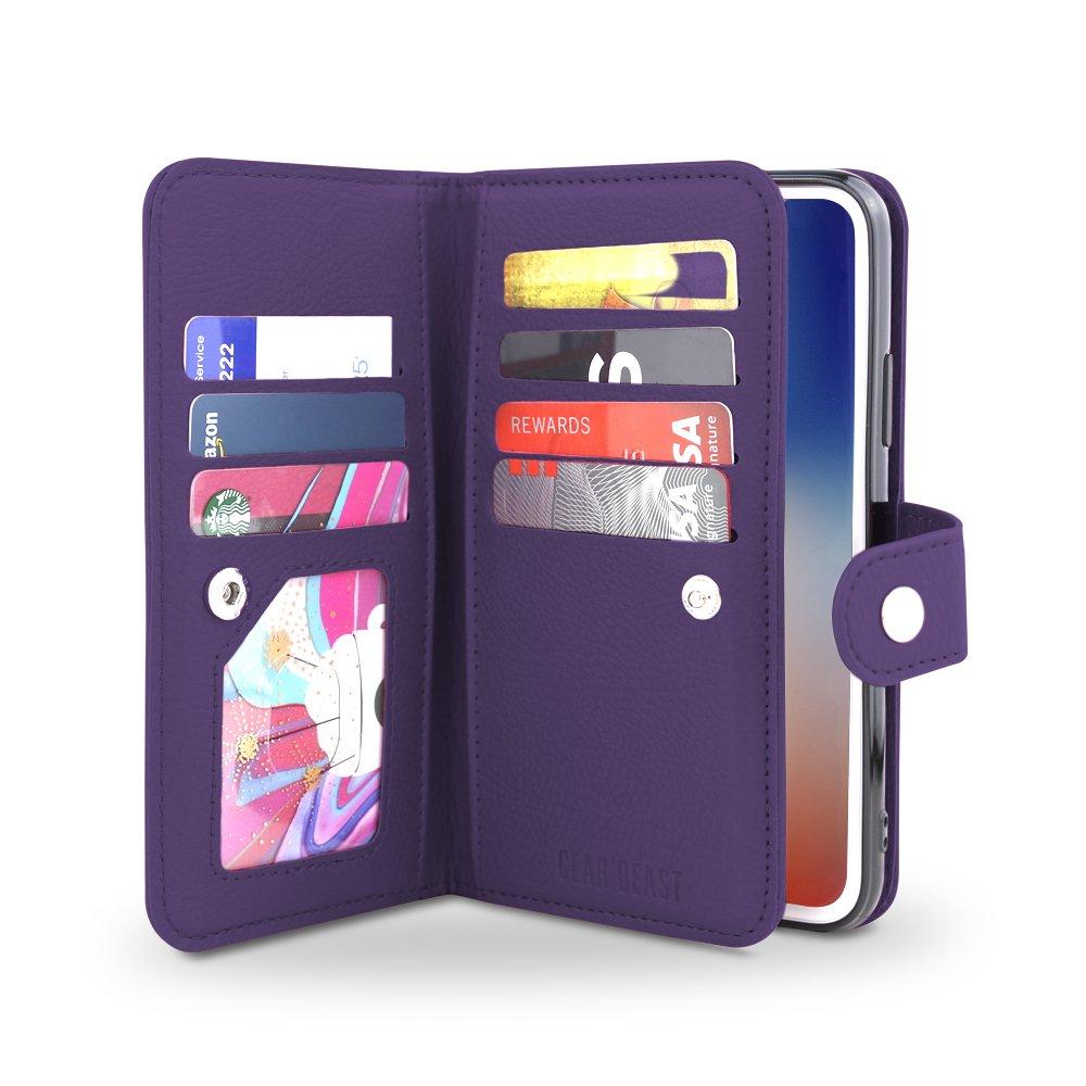 Gear Beast iPhone X Wallet Case, Flip Cover Dual Folio Slim Protective PU Leather Case 7 Slot Card Holder Including ID Holder Plus Cash/Receipt Pockets For Men Women Bonus Screen Protector - Purple