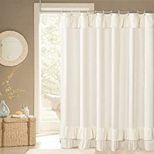 Ivory Ruffle Shower Curtain Farmhouse Fabric Cloth Shower Curtains for Bathroom 72x84 Inches,Long Size