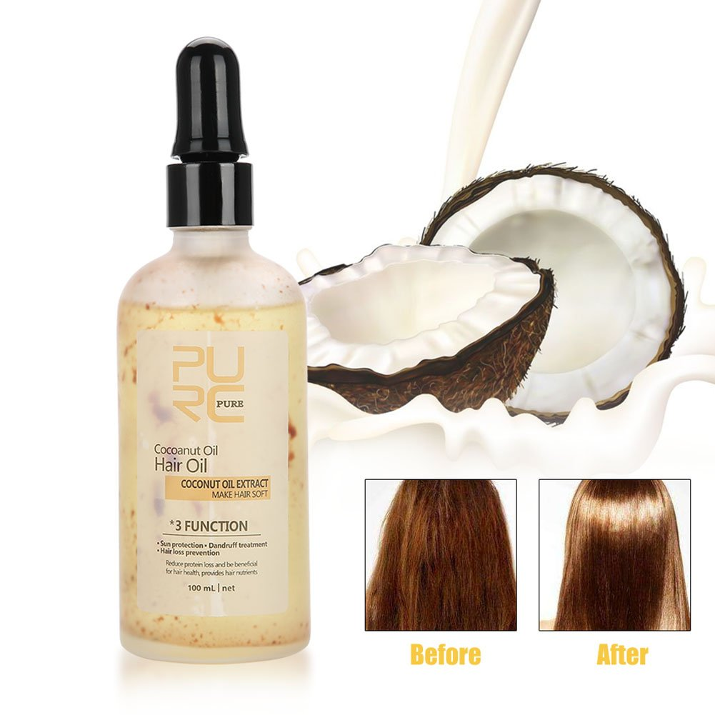 100ml Natural Coconut Hair Oil Face Body Care Moisturizing Hair Loss Oil Treatment, Anti-UV, Antidandruff, and Prevent Hair Loss