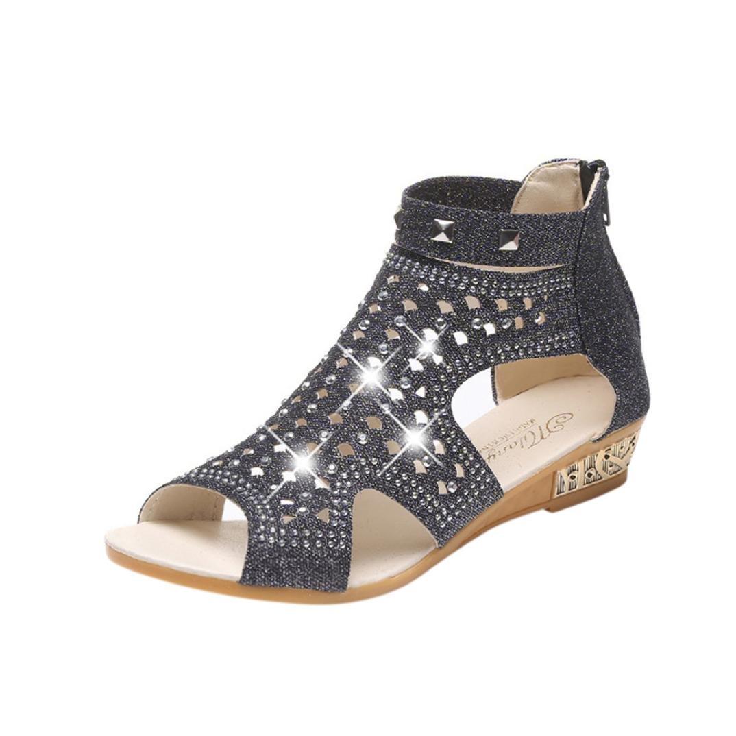 Start Women Summer Beaded Flower Flats Herringbone Sandals Beach Shoes (7 B(M) US, 2018 New Black)
