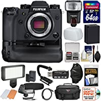 Fujifilm X-H1 Wi-Fi Digital Camera Body & Vertical Power Booster Grip with 64GB Card + Battery + Case + Flash + LED Video Light + Mic + Stabilizer Kit
