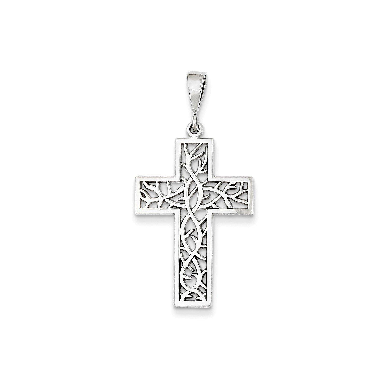 Roy Rose Jewelry 14K White Gold Thorn Cross Pendant