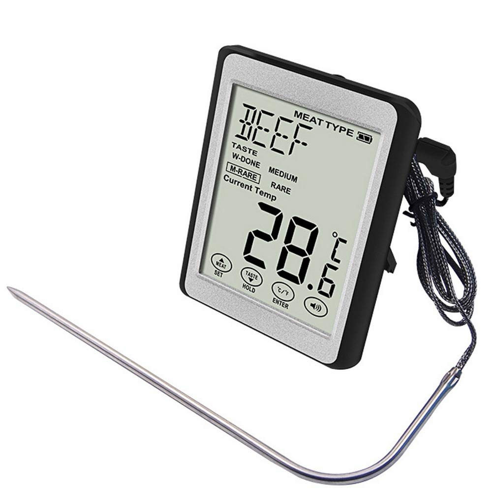 HM Digital Meat Thermometer, Food Grill BBQ Thermometer with Large LCD, Tricolor Backlight Alarm, for Kitchen, Outdoor Cooking, BBQ, and Grill