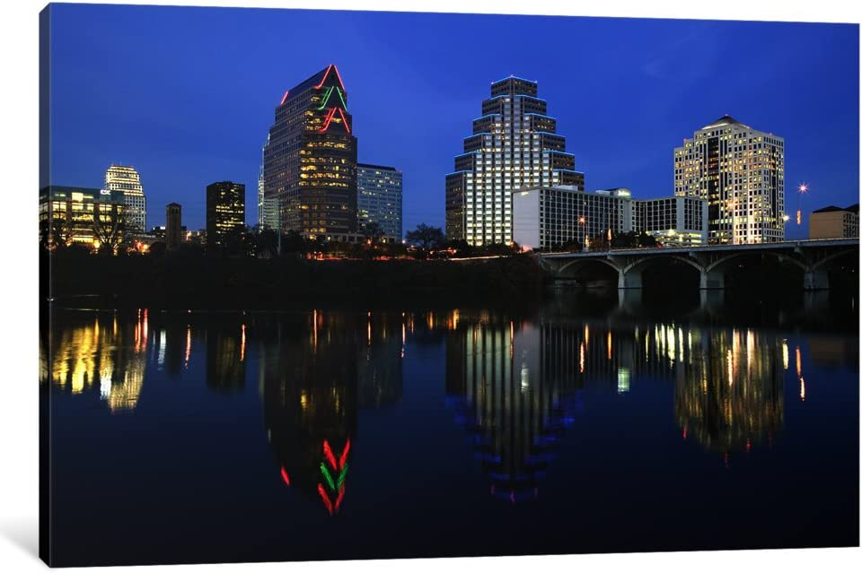 iCanvasART 1 Piece Reflection of Buildings in Water, Town Lake, Austin, Texas, USA Canvas Print by Panoramic Images, 0.75 by 12 by 8-Inch