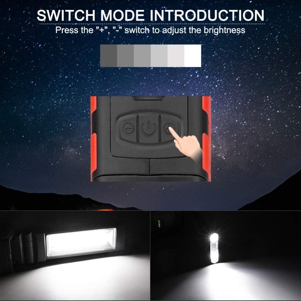 COB-LED-Arbeitslicht,wiederaufladbares USB-Arbeitslicht mit magnetischer Basis und h/ängendem Haken,COB-Superhelle einstellbare LED-Arbeitslicht-Inspektionslampe-Handfackel,f/ür Au/ßenarbeitslampe-Auto